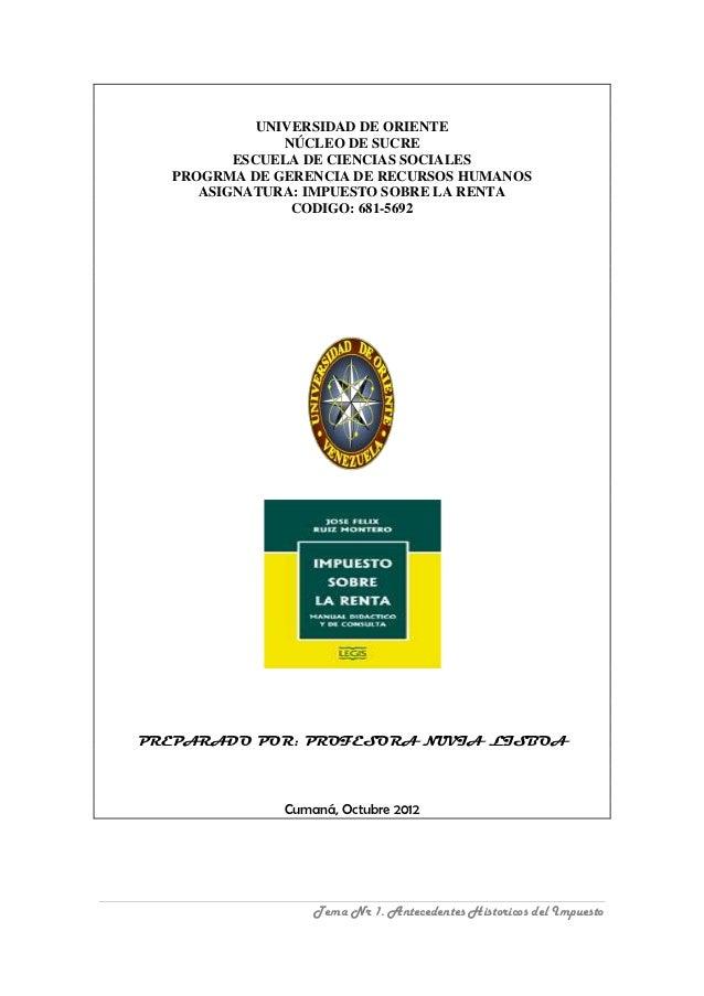 UNIVERSIDAD DE ORIENTE               NÚCLEO DE SUCRE         ESCUELA DE CIENCIAS SOCIALES  PROGRMA DE GERENCIA DE RECURSOS...
