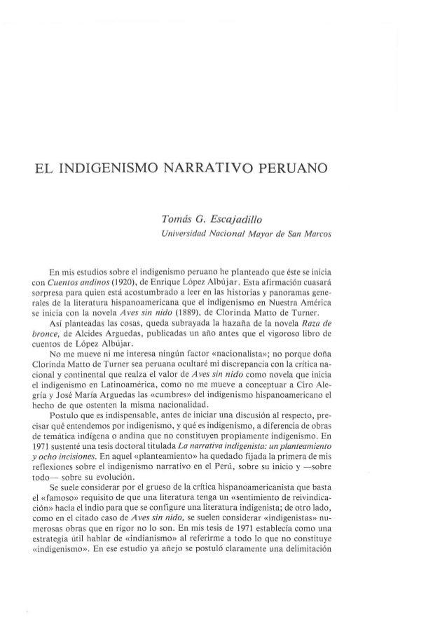 El indigenismo narrtivo peruano