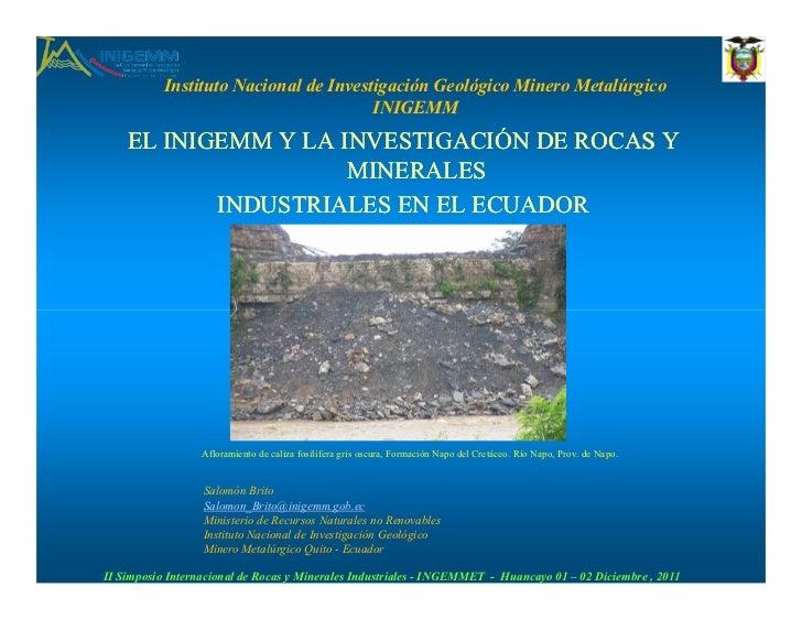 El INIGEMM y la investigación de rocas y minerales industriales en Ecuador