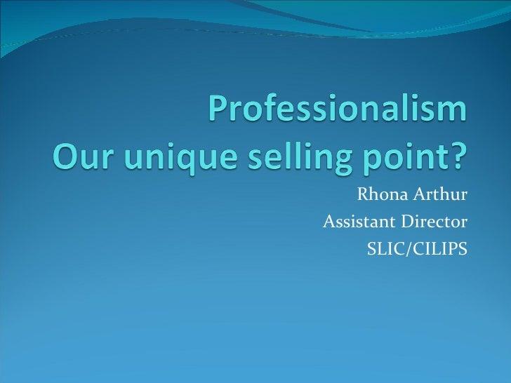 Rhona Arthur Assistant Director SLIC/CILIPS