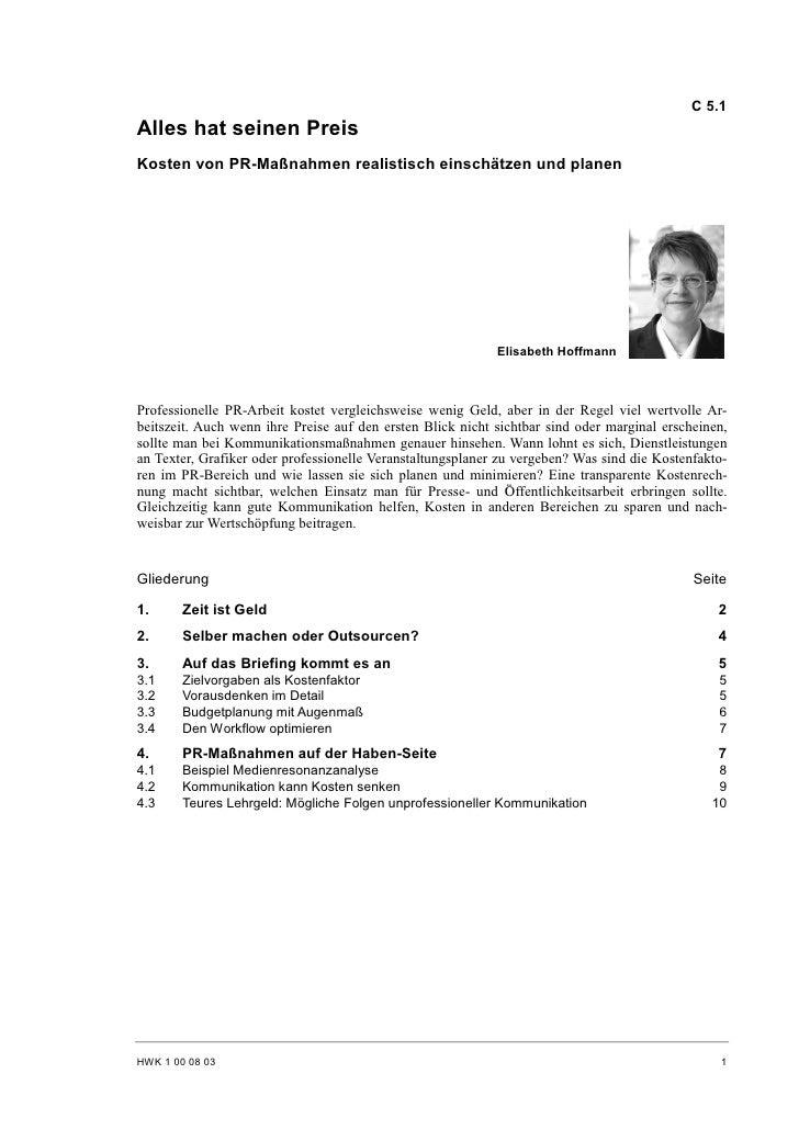 Elisabeth Hoffmann: Kosten von PR-Maßnahmen realistisch einschätzen und planen