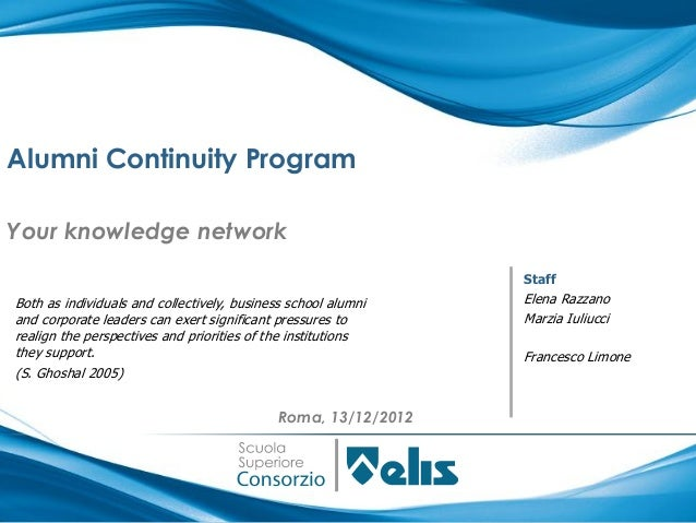 Alumni Continuity ProgramYour knowledge network                                                                StaffBoth a...