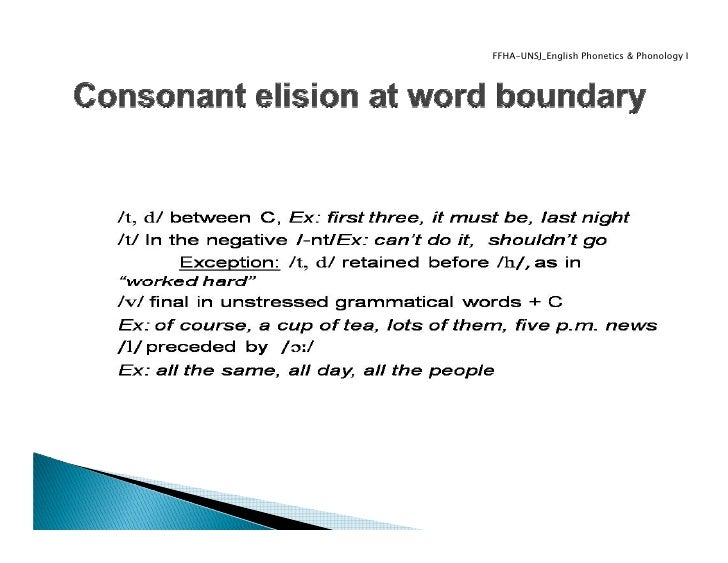 elision in english Liaison and elision liaison refers to the linking of the final consonant of one word with the beginning vowel (a, e, i, o, u) or vowel sound (generally, h and y) to the following word, as in the following example: vous imitez (voo zee‐mee‐tay.