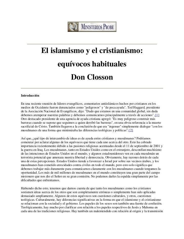 El islamismo y el cristianismo:                           equívocos habituales                                     Don Clo...