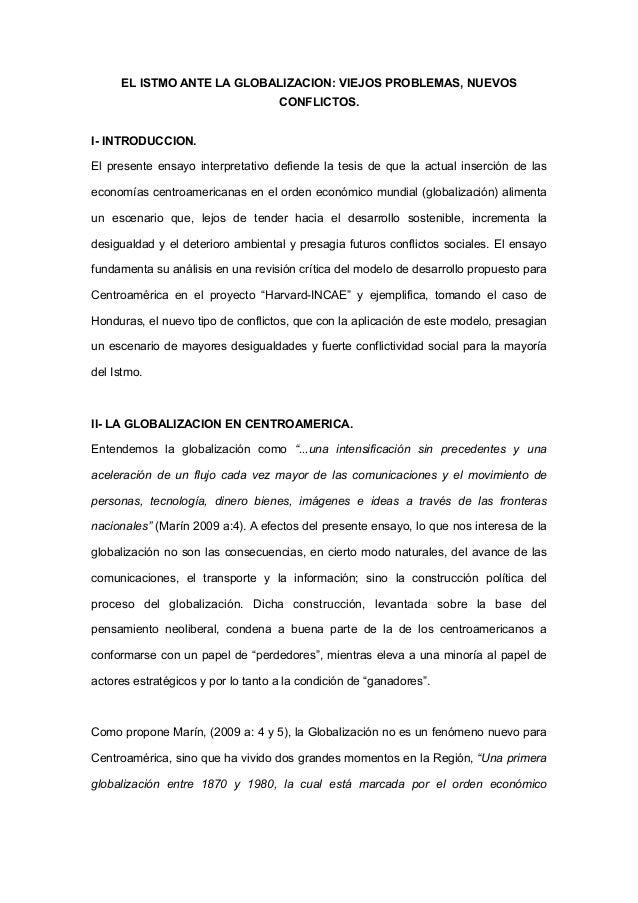 El istmo centroamericano ante la globalizacion viejos problemas, nuevos conflictos. 191212