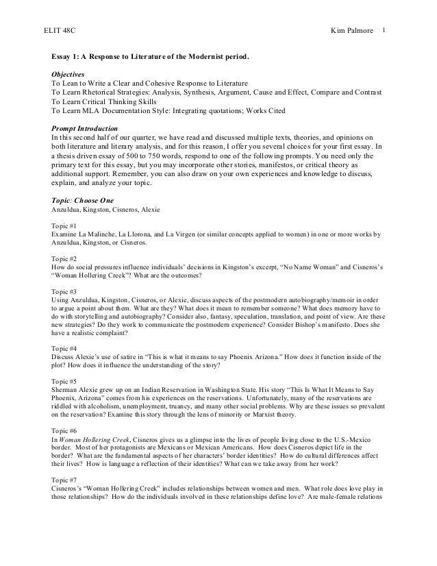Elit 48 c essay #2 anzuldua, kingston, cisneros, alexie