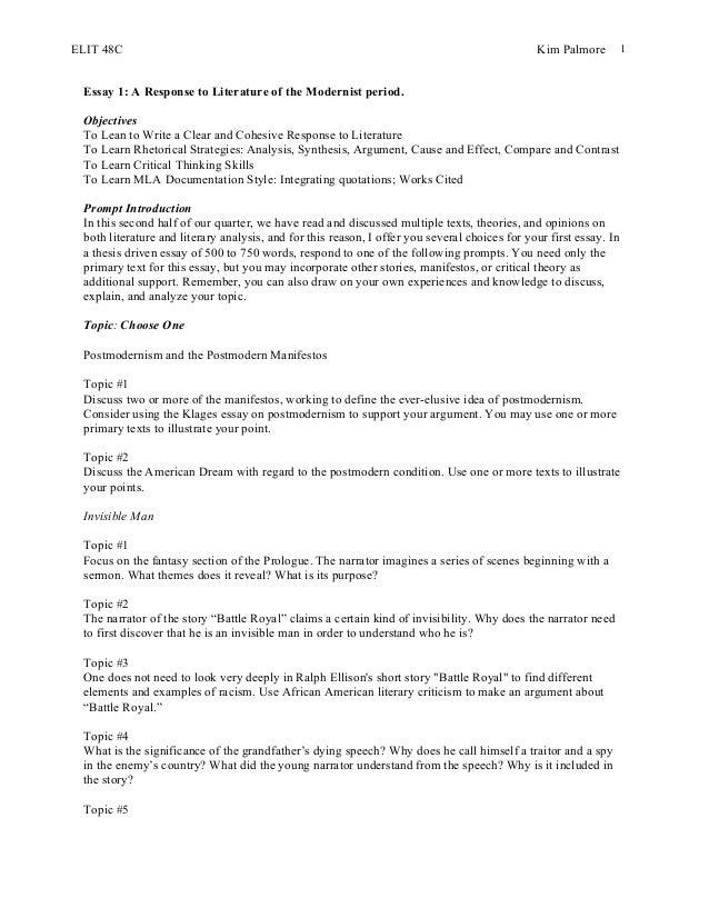 Elit 48 c essay #2 postmodernism and  battle royal_