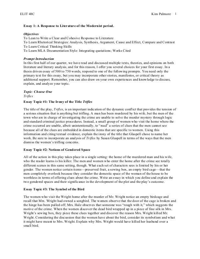 trifles sample essay format essay response format - Critical Response Essay Format