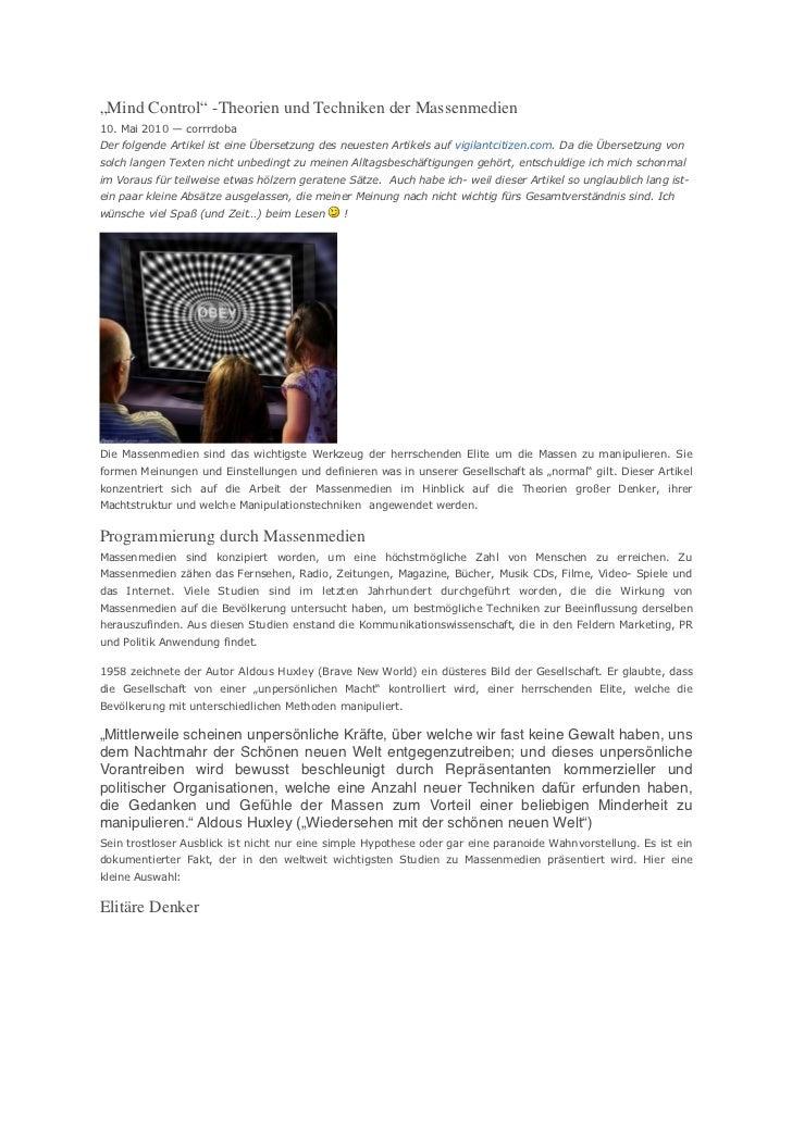 """""""Mind Control"""" -Theorien und Techniken derMassenmedien10. Mai 2010 — corrrdobaDer folgende Artikel ist eine Übersetzung d..."""