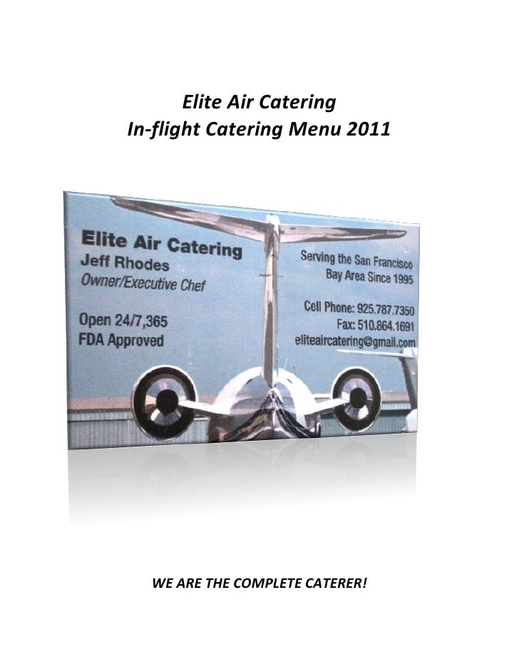 Elite Air Catering Menu With Pics September 2011