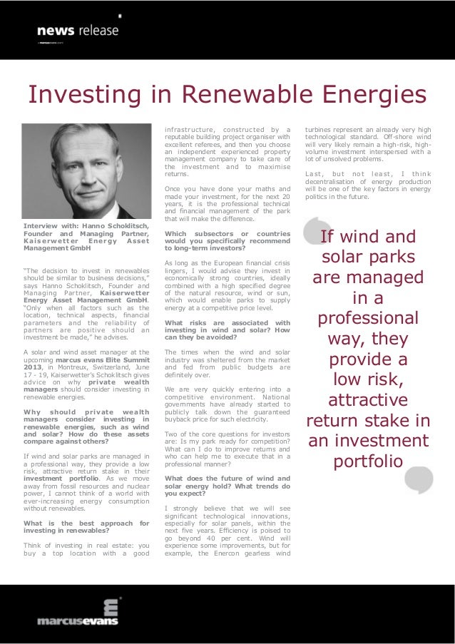 Investing in Renewable Energies: Interview with: Hanno Schoklitsch, Founder and Managing Partner, Kaiserwetter Energy Asset Management GmbH - Elite Summit