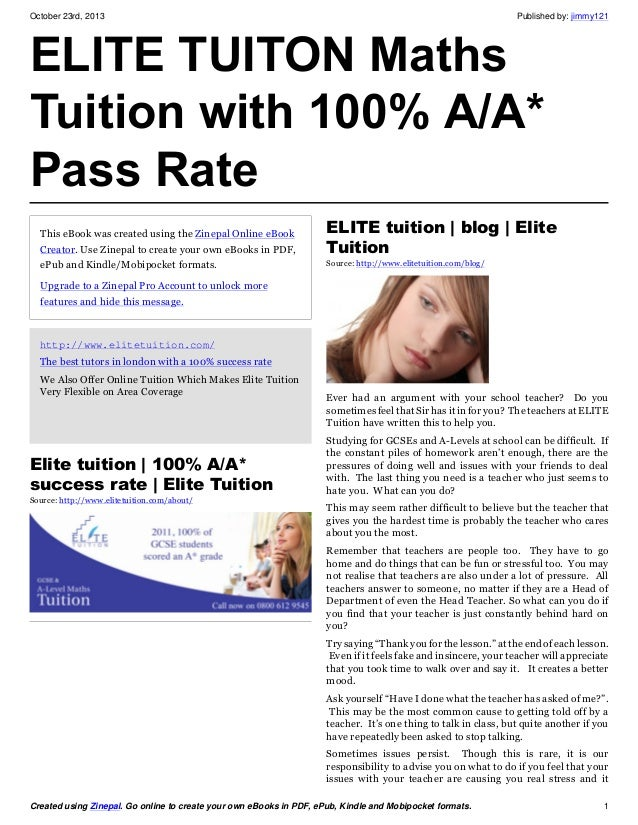 Elite tuition ebook maths tutors with 100% success rate