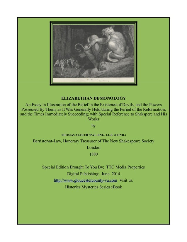 Elizabethan Demonology, Shakespeare Society, Free eBook