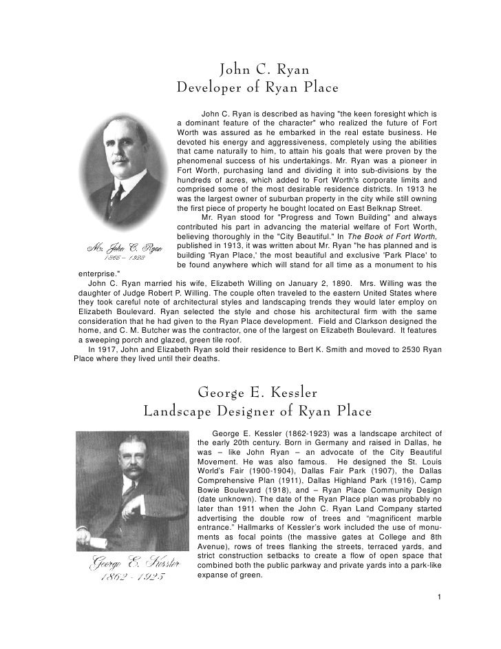 John C. Ryan                            Developer of Ryan Place                                    John C. Ryan is describ...