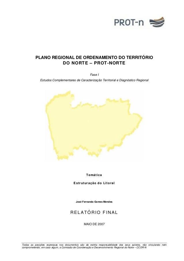 PLANO REGIONAL DE ORDENAMENTO DO TERRITÓRIO  DO NORTE – PROT-NORTE