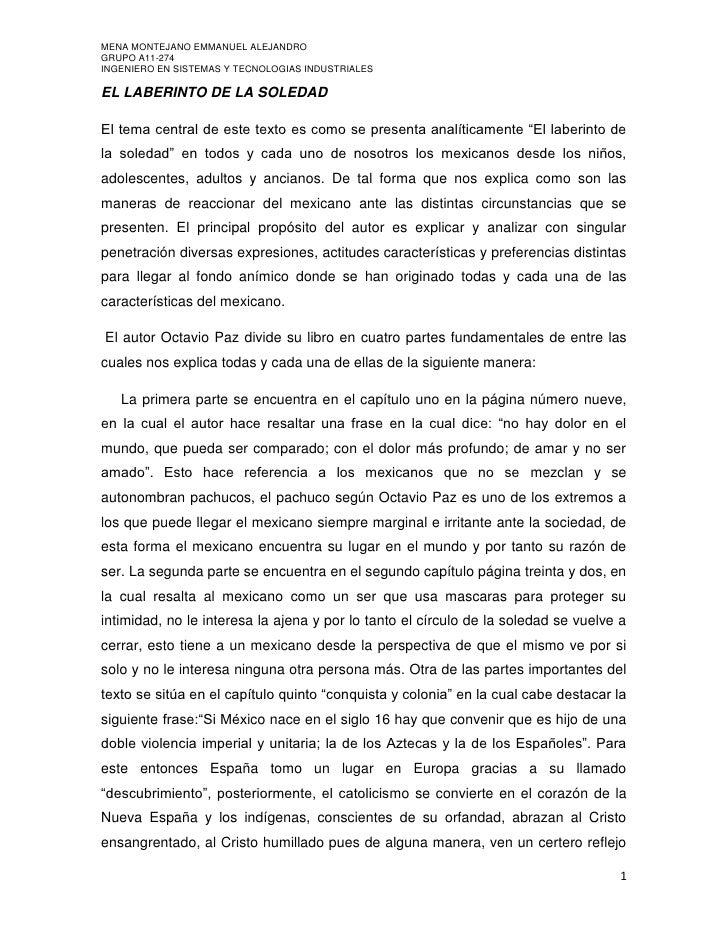 """EL LABERINTO DE LA SOLEDAD<br />El tema central de este texto es como se presenta analíticamente """"El laberinto de la soled..."""
