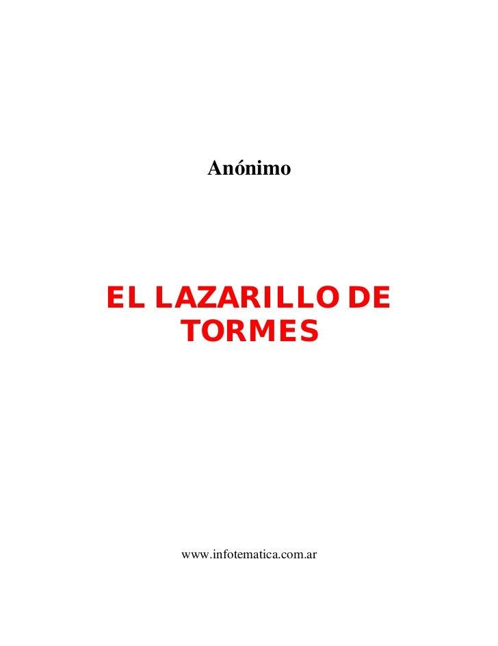 AnónimoEL LAZARILLO DE    TORMES   www.infotematica.com.ar
