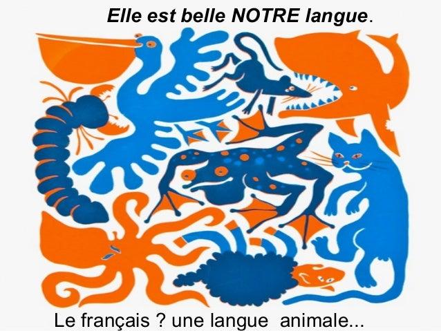Elle est belle NOTRE langue.  Le français ? une langue animale...