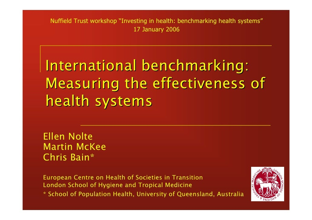 """Nuffield Trust workshop """"Investing in health: benchmarking health systems""""                               17 January 2006In..."""