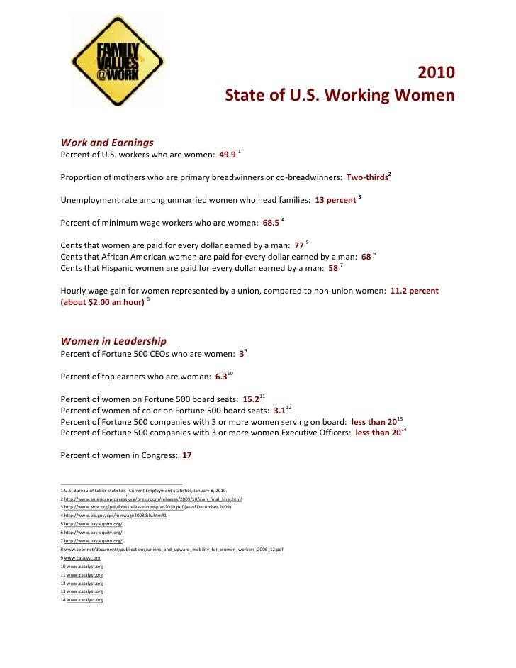 Fact Sheet on Working Women_Ellen Bravo