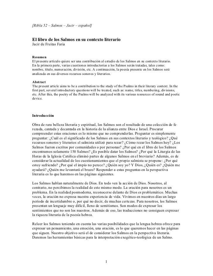 [Ribla 52 – Salmos – Jacir – español]El libro de los Salmos en su contexto literarioJacir de Freitas FariaResumenEl presen...