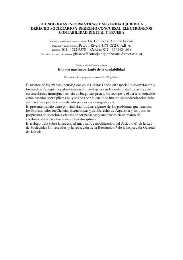 TECNOLOGÍAS INFORMÁTICAS Y SEGURIDAD JURÍDICADERECHO SOCIETARIO Y DERECHO CONCURSAL ELECTRÓNICOSCONTABILIDAD DIGITAL Y PRU...