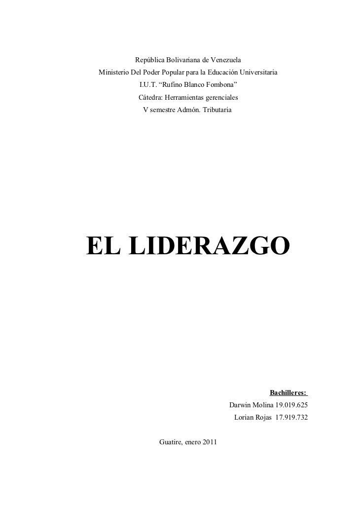 """República Bolivariana de VenezuelaMinisterio Del Poder Popular para la Educación Universitaria             I.U.T. """"Rufino ..."""