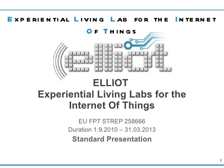 ELLIOT  Experiential Living Labs for the Internet Of Things EU FP7 STREP 258666 Duration 1.9.2010 – 31.03.2013 Standard Pr...