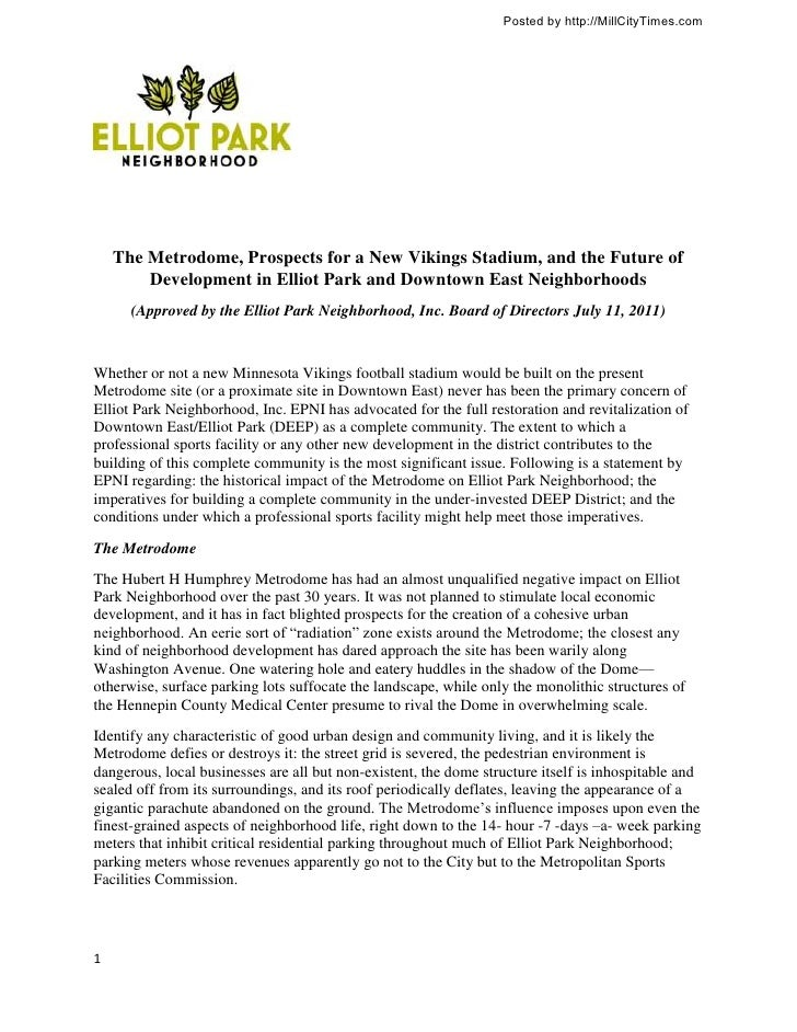 Elliot Park Neighborhood Position Statement on Vikings Stadium and DEEP Development