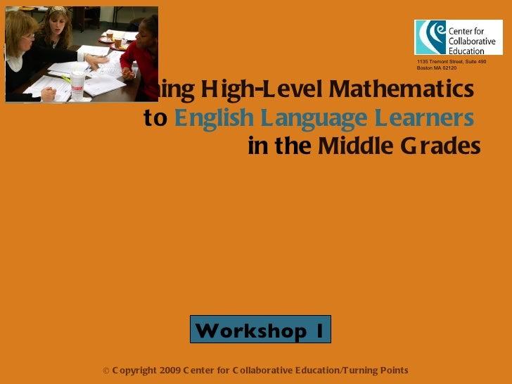 Mathematics for ELL Students Workshop 1 Presentation