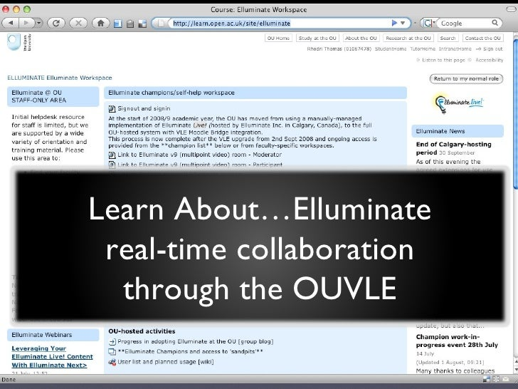 Learn About…Elluminate real-time collaboration through the OUVLE