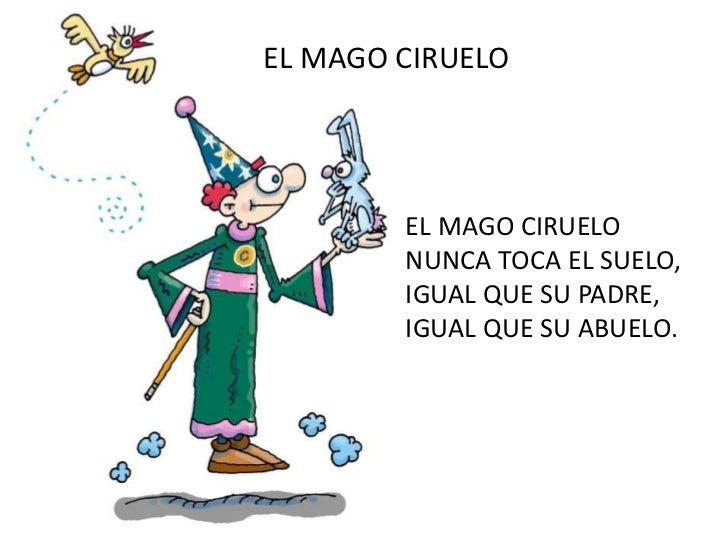 EL MAGO CIRUELO<br />EL MAGO CIRUELO<br />NUNCA TOCA EL SUELO,<br />IGUAL QUE SU PADRE,<br />IGUAL QUE SU ABUELO.<br />