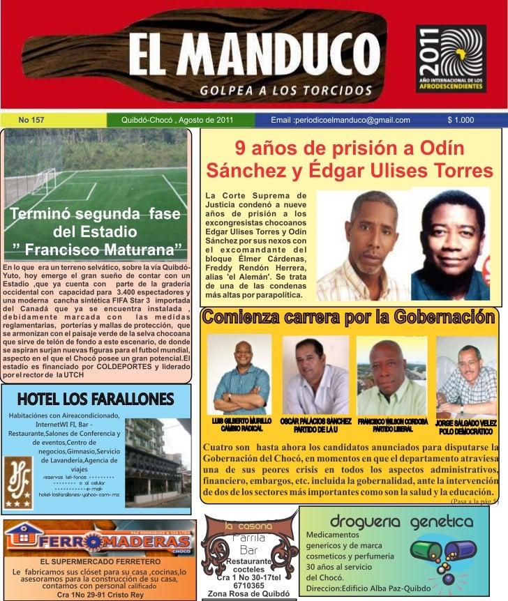 PERIODICO EL MANDUCO,CHOCO-COLOMBIAEDICION No 157