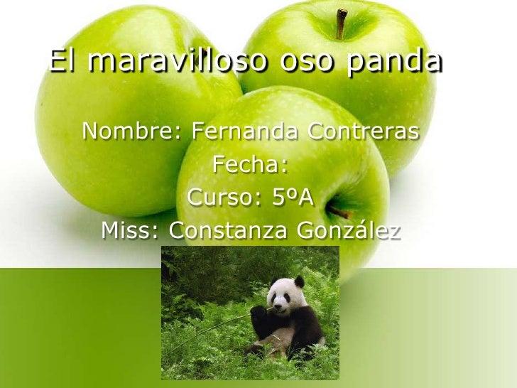 El maravilloso oso panda<br />Nombre: Fernanda Contreras<br />Fecha:<br />Curso: 5ºA<br />Miss: Constanza González<br />