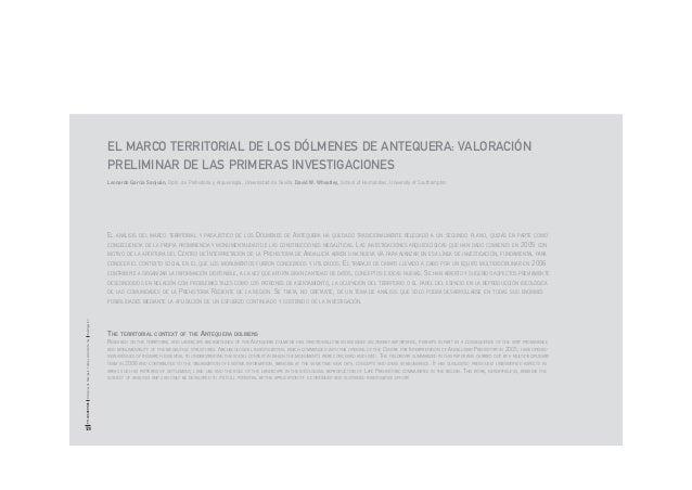 EL MARCO TERRITORIAL DE LOS DÓLMENES DE ANTEQUERA: VALORACIÓN PRELIMINAR DE LAS PRIMERAS INVESTIGACIONES Leonardo García S...