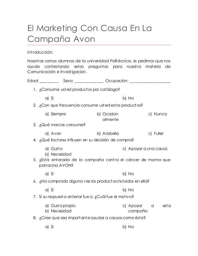 El Marketing Con Causa En La Campaña Avon Introducción: Nosotras somos alumnas de la universidad Politécnica, le pedimos q...