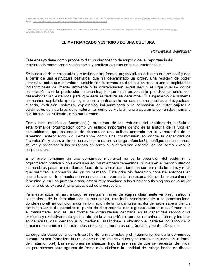 2° WALLFFIGUER, Daniela. EL MATRIARCADO VESTIGIOS DE UNA CULTURA. Organización de Escritoras de Chile (OECH). Febrero 2012...