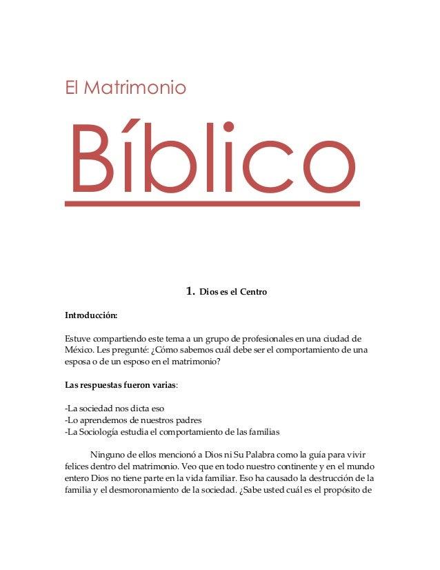 El Matrimonio Biblico