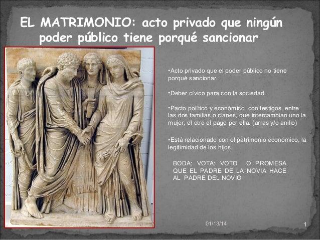 EL MATRIMONIO: acto privado que ningún poder público tiene porqué sancionar •Acto privado que el poder público no tiene po...