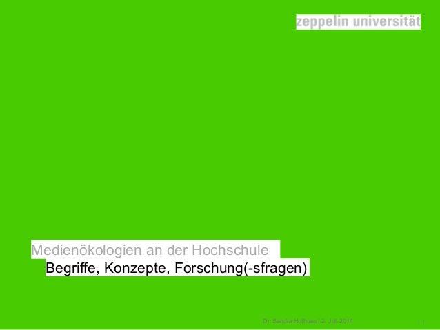 Dr. Sandra Hofhues | 2. Juli 2014 |1 Medienökologien an der Hochschule Begriffe, Konzepte, Forschung(-sfragen)