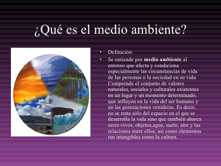 ¿Qué es el medio ambiente? <ul><li>Definición: </li></ul><ul><li>Se entiende por  medio ambiente  al entorno que afecta y ...