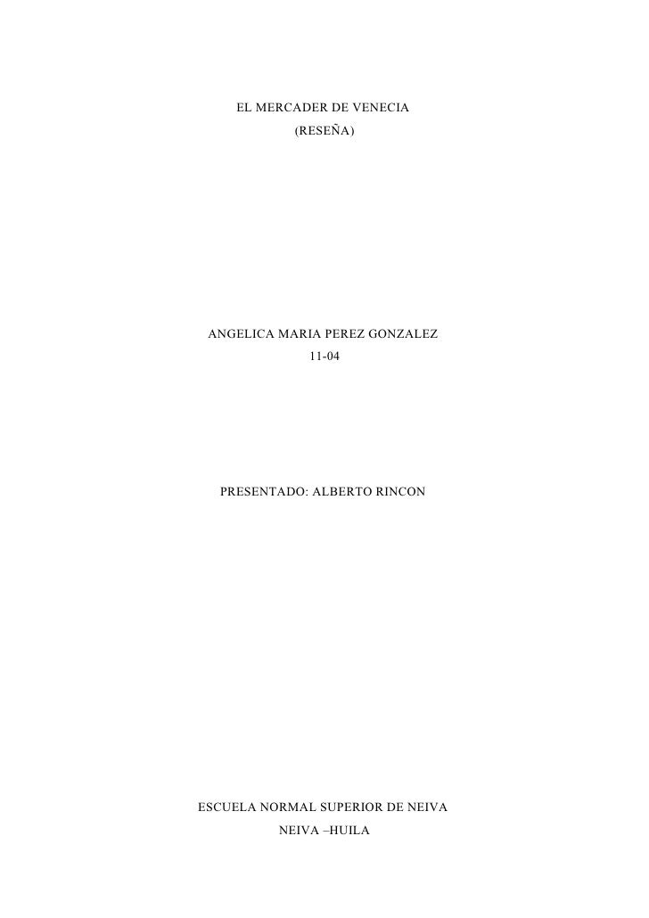 El Mercader De Venecia ReseñA Angelica Maria 11 04