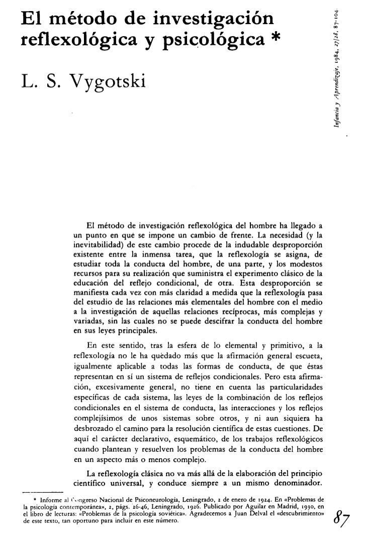 El metodo de investigacion reflexologica y psicologica vigotsky
