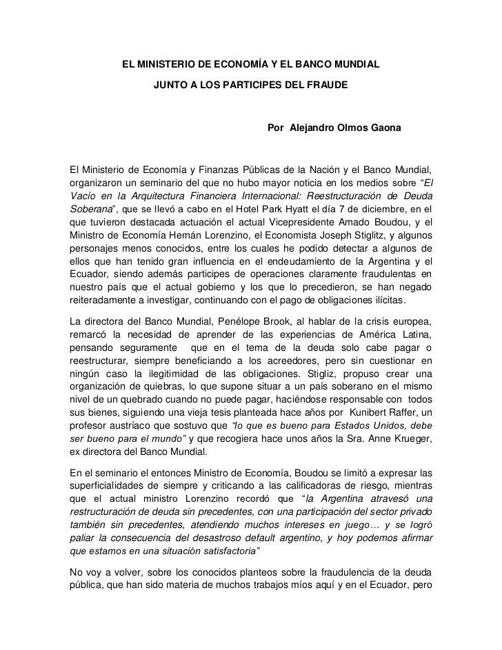 Interesante texto de Alejandro OLMOS, miembro de la CAIC