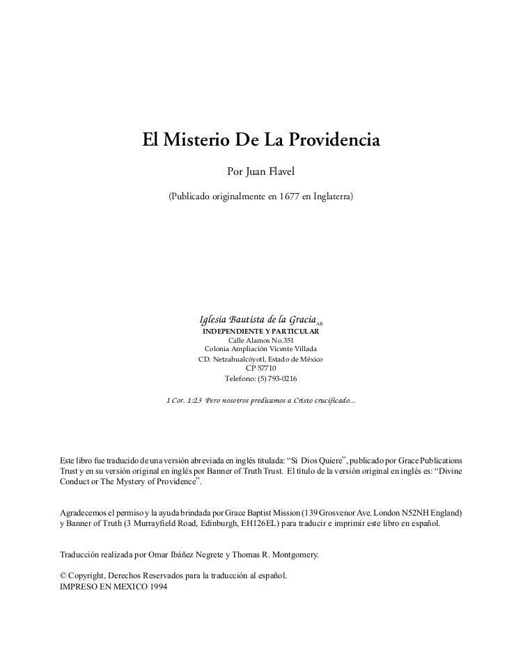 El Misterio De La Providencia                                                   Por Juan Flavel                           ...