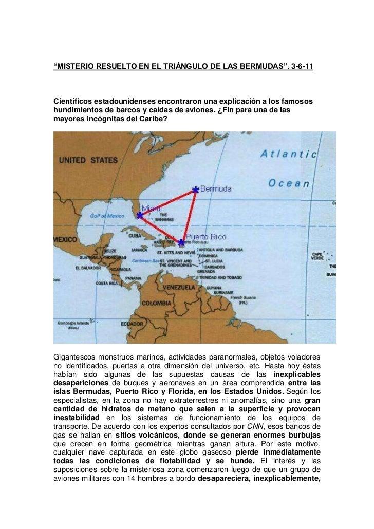 """""""MISTERIO RESUELTO EN EL TRIÁNGULO DE LAS BERMUDAS"""". 3-6-11Científicos estadounidenses encontraron una explicación a los f..."""