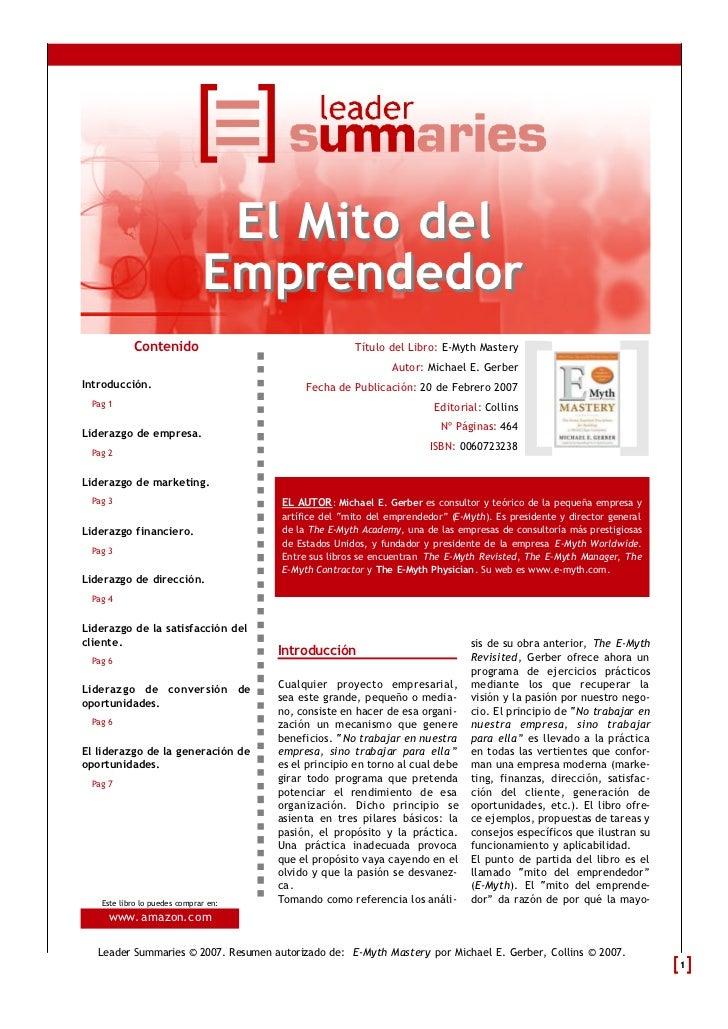 El Mito del                              Emprendedor           Contenido                                 Título del Libro:...