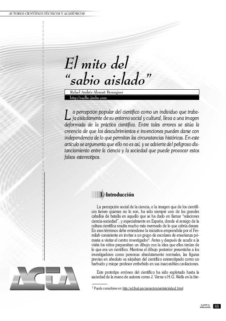 """AUTORES CIENTÍFICO-TÉCNICOS Y ACADÉMICOS                             El mito del                             """"sabio aislad..."""