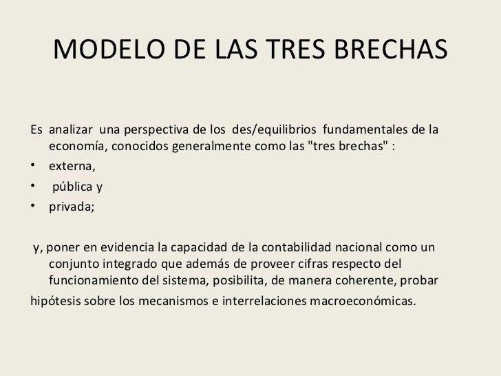 MODELO DE LAS TRES BRECHAS <ul><li>Es  analizar  una perspectiva de los  des/equilibrios  fundamentales de la economía, co...
