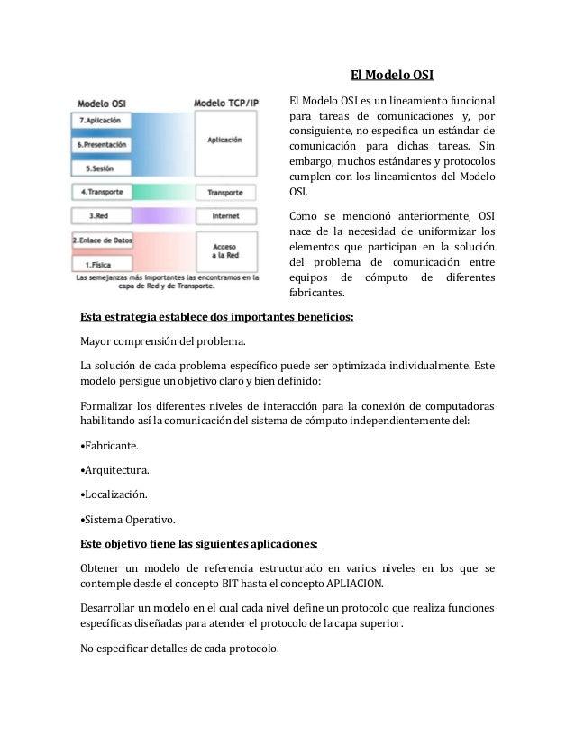 El Modelo OSI El Modelo OSI es un lineamiento funcional para tareas de comunicaciones y, por consiguiente, no especifica u...